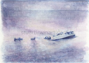 Sketch for The Abandoning of the MV Joyita, Watercolour, 2012