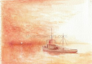 Sketch for The Final voyage of the MV Joyita, Watercolour, 2012