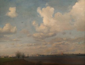 The Mersey from Shorefields, New Ferry. Oil on Canvas.